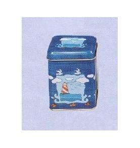 Boite à thé métal 'Mouettes' petite carrée 50 gr : lot de 2 boites