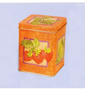 Boite à thé métal 'Fruits' carrée 113gr : lot de 2 boites
