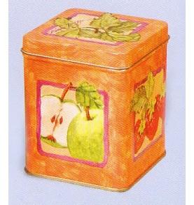 Boite à thé métal 'Fruits' carrée medium 227 gr : lot de 2 boites