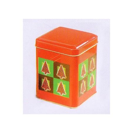 Boite à thé métal 'Sapins de Noel' carrée 113gr : lot de 2