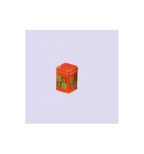 Boite à thé métal 'Sapins de Noel' mini carrée 25 gr : lot de 6