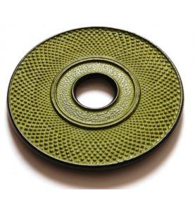 Dessous de théière en fonte DENXI vert jaune pistache petits picots diamètre 18cm
