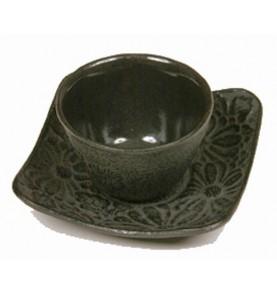 Tasse en fonte + dessous KITAMI trois motifs bambou noir 10 cl