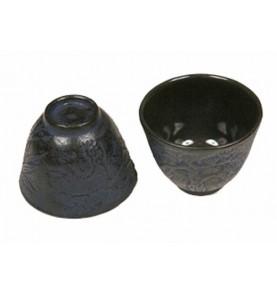 Tasse en fonte KITAMI  bleu saphir trois motifs 10 cl