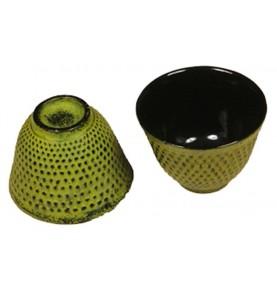 Tasse en fonte ARARE vert jaune pistache picots 10 cl
