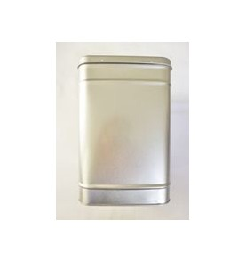 Boite à thé métal ARGENTE carrée grande 1,3 kg