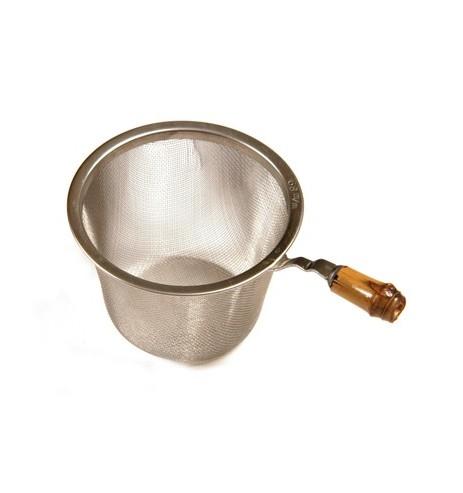Passoire à thé en métal avec manche en bambou