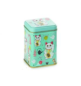 """Boîte à thé motif chat porte-bonheur """"Maneki-Neko"""""""