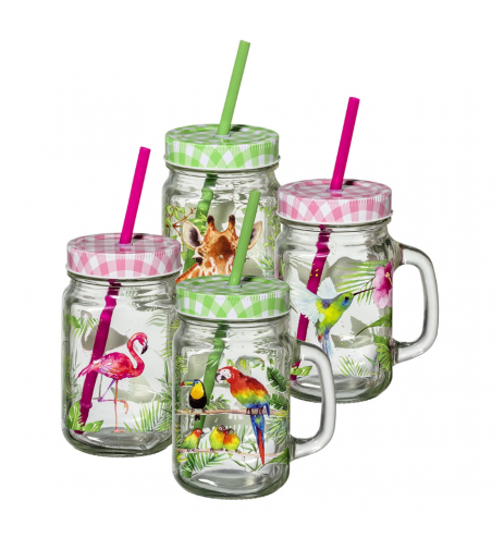Lot de 4 Mugs en verre pour le thé glacé