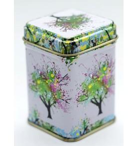 Boîte à thé métal carrée arbre de vie