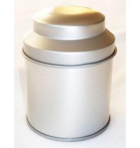Boite à thé métal 'Argenté' petite pagode double fermeture 35g *Nouveau*