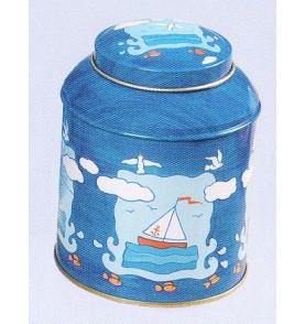 Boite à thé métal 'Mouettes' pagode ronde 125 gr : lot de 2 boites