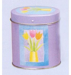 Boite à thé métal 'Tulipes' ovale 113 gr : lot de 2 boites