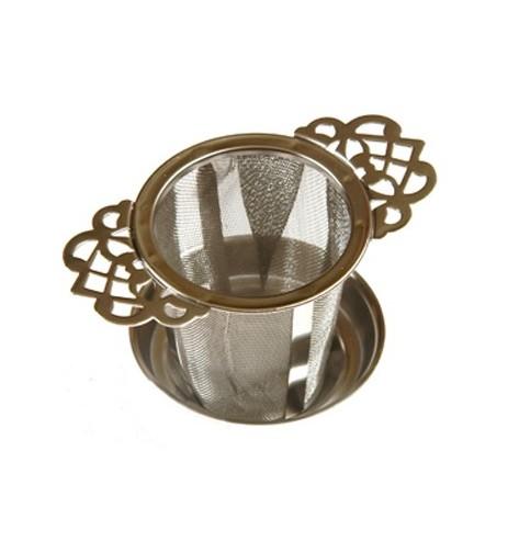 """Filtre à thé métal universel pour mug et théière """"dentelle"""" + bol ramasse-gouttes"""