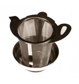 """Filtre à thé métal universel pour mug et théière """"décor théière"""" + bol ramasse-gouttes"""