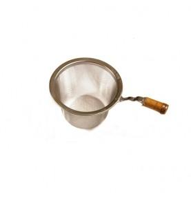 Passette à thé métal inox avec manche bambou diamètre 5,5cm