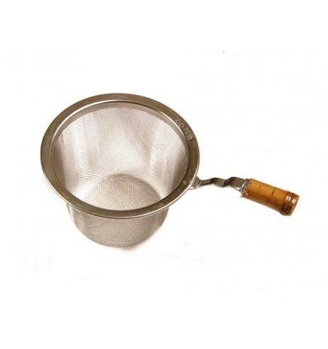 Passette à thé métal inox avec manche bambou diamètre 6,4cm
